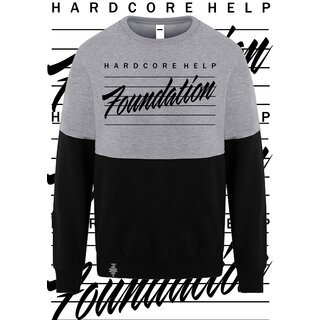 HHF Akira Letter - Block Crew Neck- with HHF Symbol Patch /Heather Grey/Deep Black